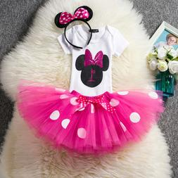 US Stock ! Baby Minnie Mouse Girl 1st First Birthday Tutu Ou