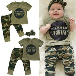 US Stock Newborn Baby Boy Girl Camo T-shirt Tops Pants Outfi