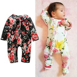 US Stock Newborn Baby Girl Flower Romper Jumpsuit Bodysuit C