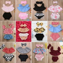 US Stock Newborn Baby Girl Outfit Off Shoulder Tops Shorts H