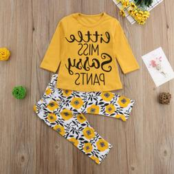 US Stock Newborn Baby Girls Clothes T Shirt Top+Floral Pants
