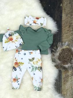 US Stock Newborn Baby Girls Tops Romper Floral Pants Outfits