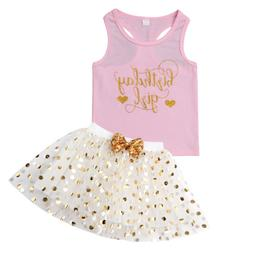 US Summer Birthday Kid Baby Girl Outfit Sleeveless Vest Top+