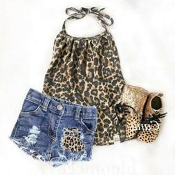 US Summer Clothes Toddler Kid Baby Girl Leopard Top Jeans Sh