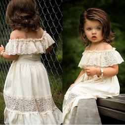 US Summer Toddler Baby Girl Clothes Off Shoulder Lace Party