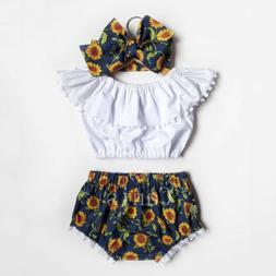 US Summer Toddler Baby Girl Clothes Ruffle Tops Sunflower Sh