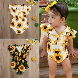 US Summer Toddler Baby Girl Clothes Sunflower Romper Jumpsui