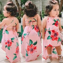 US Summer Toddler Kids Baby Girls Sleeveless Clothes Flower