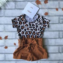 US Toddler Baby Girl Clothes Leopard Short Sleeve Tops Short