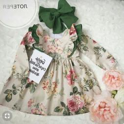 US Toddler Baby Girl Clothes Long Sleeve Flower Dress Prince
