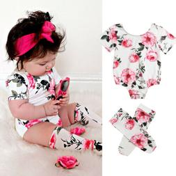 US Toddler Baby Girl Floral Clothes Long Sleeve Romper Bodys