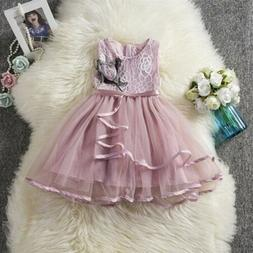 US Toddler Baby Girl Flower Clothes Princess Lace Tutu Dress