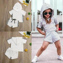 US Toddler Baby Girl Kids Hooded Tops+Shorts Pants 2Pcs Outf