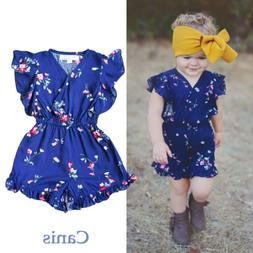 US Toddler Baby Girls Clothes Floral Ruffles Romper Jumpsuit