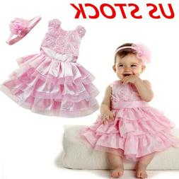 US Toddler Baby Girls Floral Tulle Dress Princess Pageant Pa