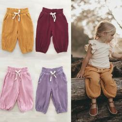 US Toddler Baby Kids Girl Pocket Cotton Bloomers Trousers Le