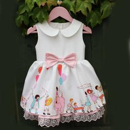 US Toddler Infant Kids Baby Girl Summer Lace Bowknot Princes