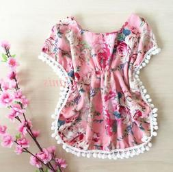 US Toddler Kid Baby Floral Tops Sunsuit Outfit Clothes Beach