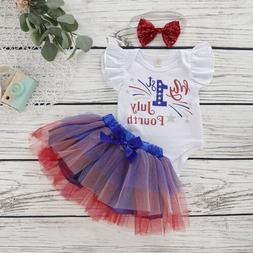 US Toddler Kid Baby Girl Clothes Short Sleeve Romper Tutu Dr