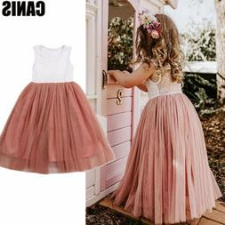 US Toddler Kid Baby Girl Dresses Princess Pageant Party Lace