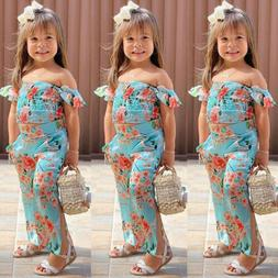 US Toddler Kid Baby Girl Floral Clothes Off Shoulder Crop To