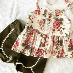 us toddler kid baby girl flower tops