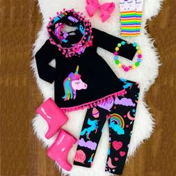us toddler kid baby girl unicorn outfit