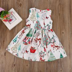 US Toddler Kids Baby Girl Christmas Cartoon Deer Sleeveless