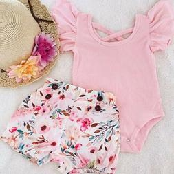 US Toddler Kids Baby Girl Infant Clothes Romper Tops Flower