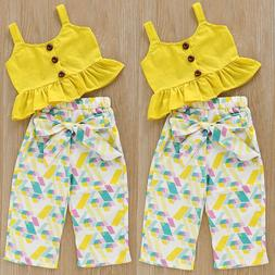 US Toddler Kids Baby Girl Outfits Clothes T-shirt Top+Pants