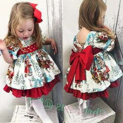 USA Christmas Toddler Kids Baby Girl Xmas Flared Party Santa