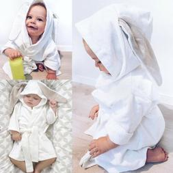 US White Bunny Baby Boy Girl Bathing Gown Soft Cloth Hooded