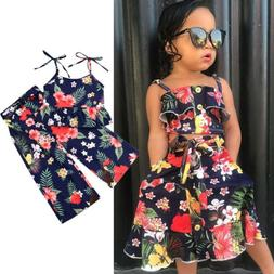 US2PCS Kid Baby Girl Outfit Summer Sleeveless T-shirt Top+Pa