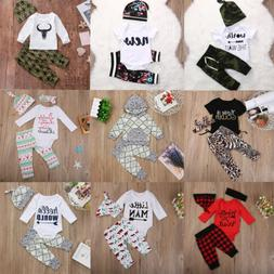 USA 3PCS Newborn Baby Boys Girls Clothes Romper Bodysuit+Pan