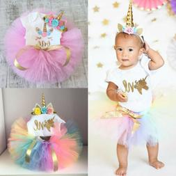 USA Canis 3Pcs Newborn Baby Girl Unicorn Birthday Romper Tut