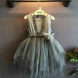 USA Baby Girl Princess Dress Kids Party Wedding Pageant Lace