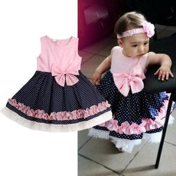 USA Baby Girl Toddler Party Tutu Dress Pageant Wedding Birth
