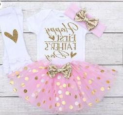 USA Fathers Day Outfits Baby Girl Romper Bodysuit Tutu Skirt