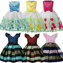 USA Flower Girl Princess Dress Infant Baby Party Wedding Lac
