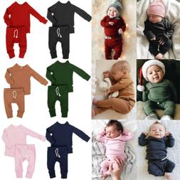 US Infant Baby Boy Girl Tops + Pants Outfits Pajamas Pjs Set
