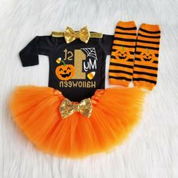 My 1st Halloween Baby Girl Pumpkin Outfits Romper Jumpsuit+T