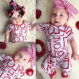 USA Infant Baby Girl LOVE Romper Jumpsuit Bodysuit Outfit Ki