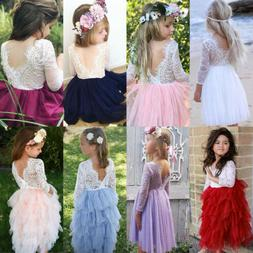USA Canis Kid Baby Girls Lace Tulle Backless Party Bridesmai