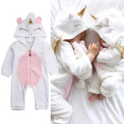 USA Newborn Baby Girl 3D Unicorn Flannel Romper Jumpsuit Bod