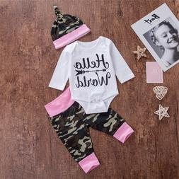 USA Newborn Baby Girl Camo Long Sleeve Tops Romper Pants Hat