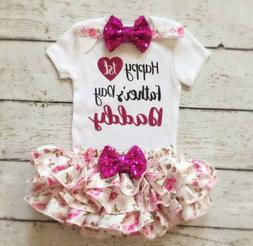 USA Newborn Baby Girl Happy 1st Father's Day Romper Bow Skir