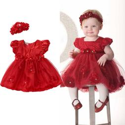 2pcs Newborn Infant Baby Girl Wedding Party Princess Tutu Dr