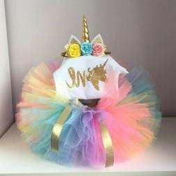 USA Canis Newborn Baby Girls Unicorn Romper Tutu Skirt Headb