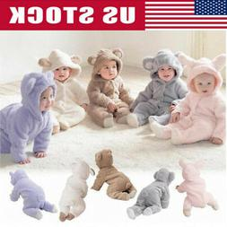 USA Newborn Baby Infant Boy Girl Romper Hooded Jumpsuit Outf