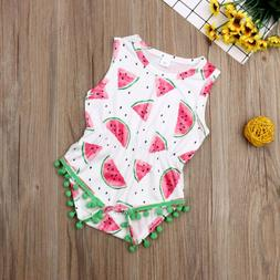 USA Newborn Toddler Baby Girl Clothes Watermelon Cotton Romp